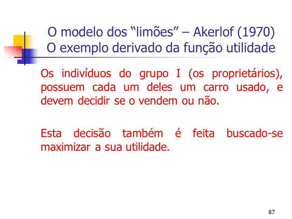 67 O modelo dos limões – Akerlof (1970) O exemplo derivado da função utilidade Os indivíduos do grupo I (os proprietários), possuem cada um deles um c