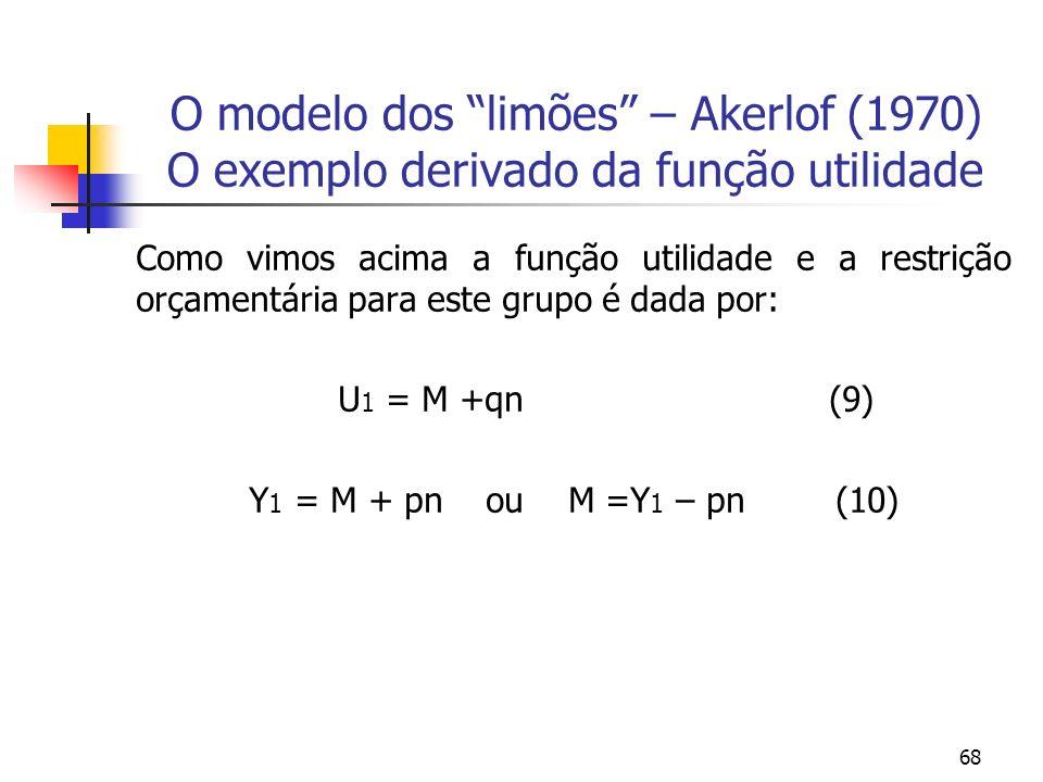 68 O modelo dos limões – Akerlof (1970) O exemplo derivado da função utilidade Como vimos acima a função utilidade e a restrição orçamentária para est