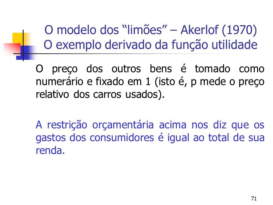 71 O modelo dos limões – Akerlof (1970) O exemplo derivado da função utilidade O preço dos outros bens é tomado como numerário e fixado em 1 (isto é,