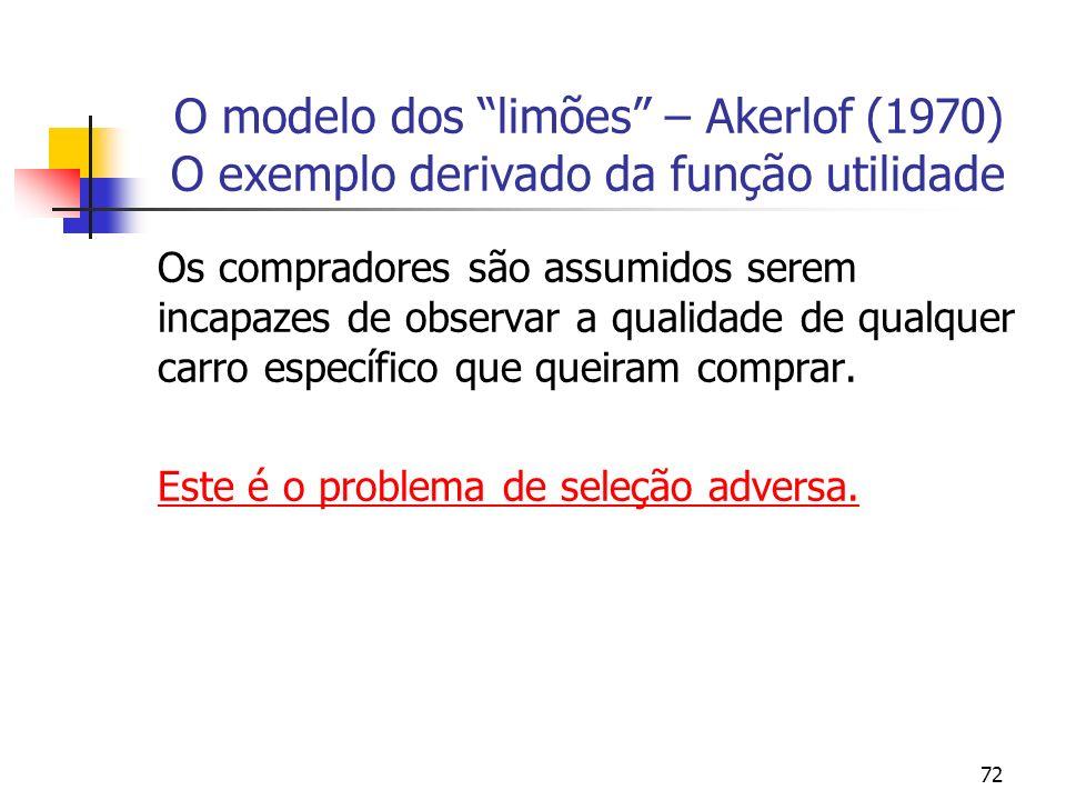 72 O modelo dos limões – Akerlof (1970) O exemplo derivado da função utilidade Os compradores são assumidos serem incapazes de observar a qualidade de