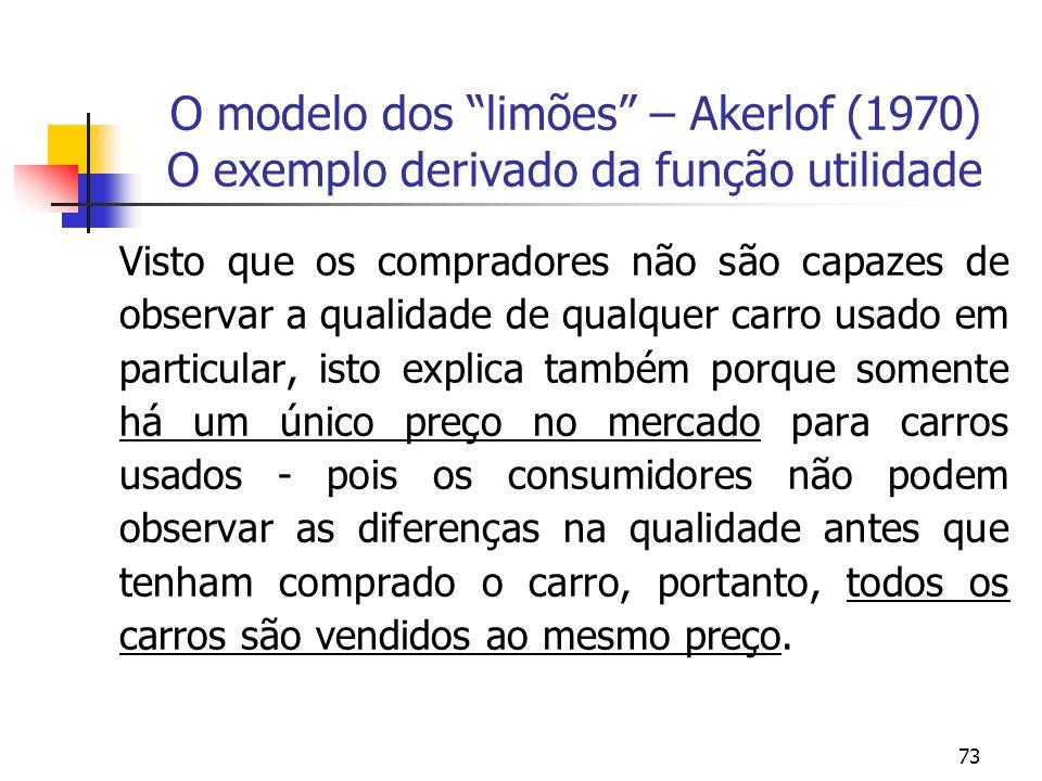 73 O modelo dos limões – Akerlof (1970) O exemplo derivado da função utilidade Visto que os compradores não são capazes de observar a qualidade de qua