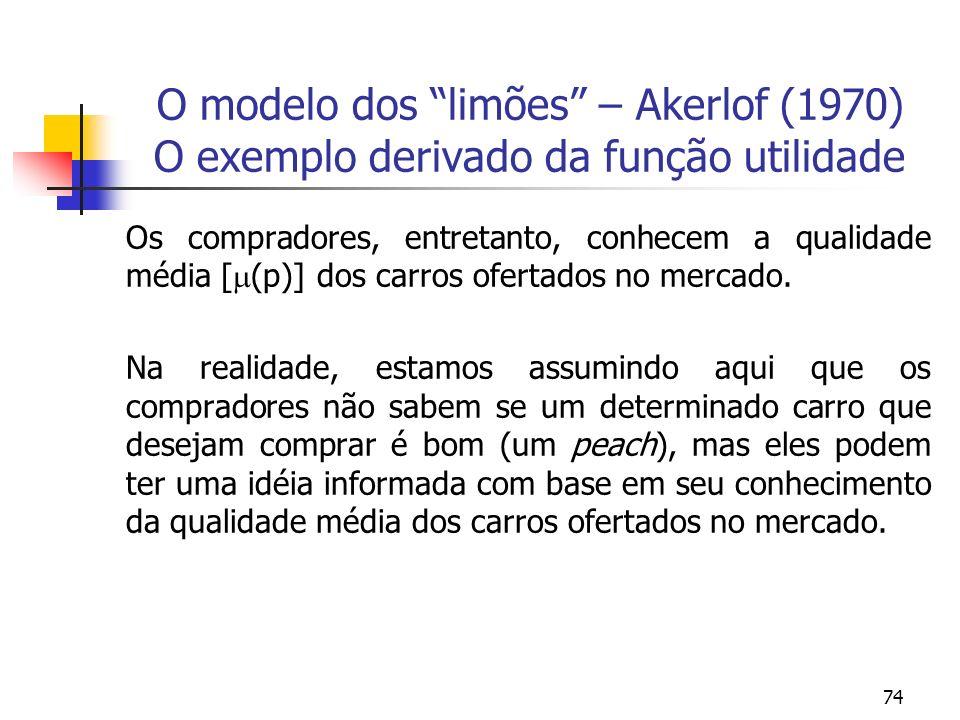 74 O modelo dos limões – Akerlof (1970) O exemplo derivado da função utilidade Os compradores, entretanto, conhecem a qualidade média [ (p)] dos carro