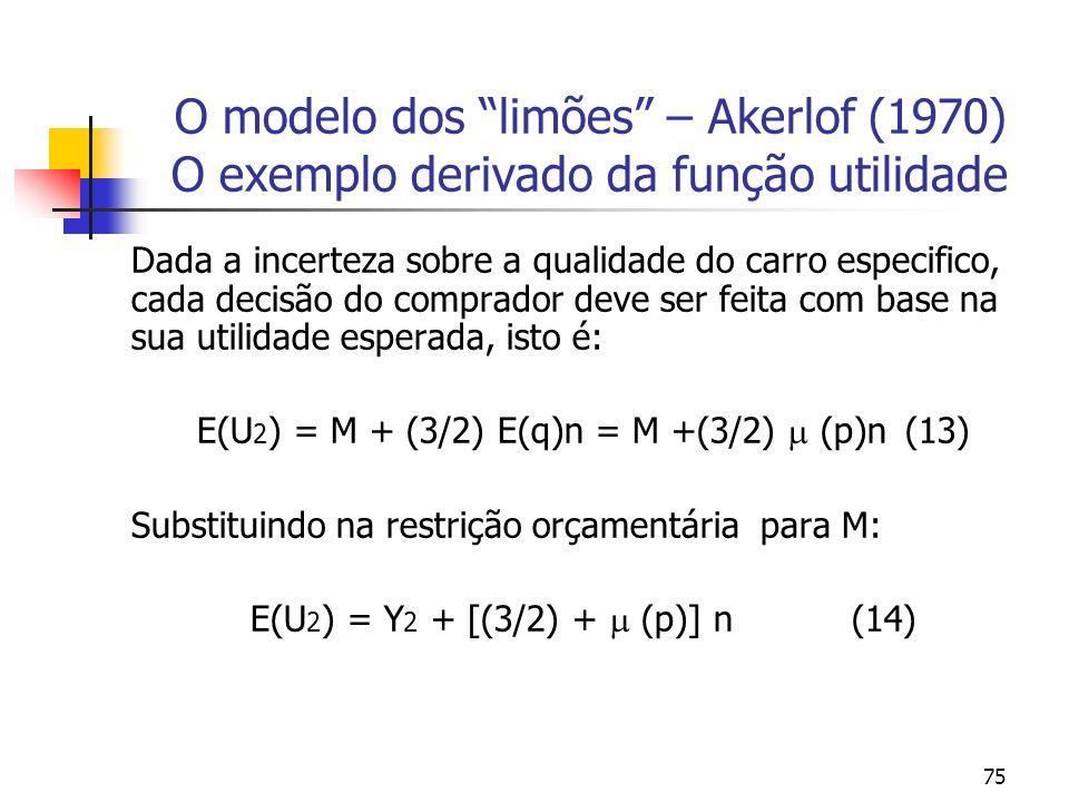75 O modelo dos limões – Akerlof (1970) O exemplo derivado da função utilidade Dada a incerteza sobre a qualidade do carro especifico, cada decisão do