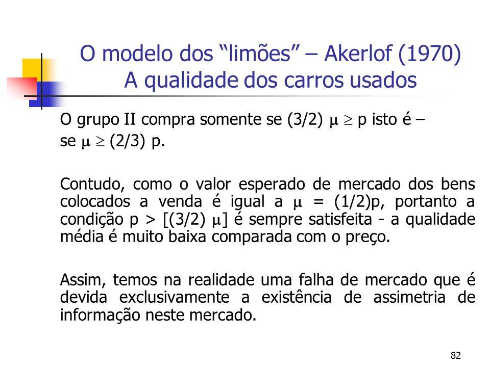 82 O modelo dos limões – Akerlof (1970) A qualidade dos carros usados O grupo II compra somente se (3/2) p isto é – se (2/3) p. Contudo, como o valor