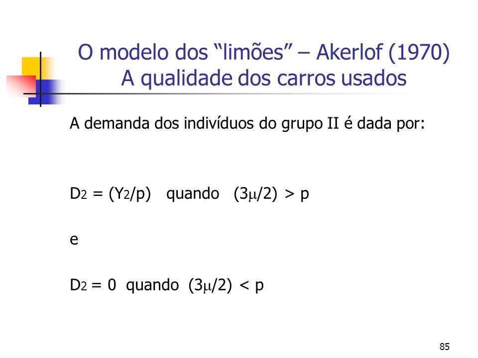 85 O modelo dos limões – Akerlof (1970) A qualidade dos carros usados A demanda dos indivíduos do grupo II é dada por: D 2 = (Y 2 /p) quando (3 /2) >