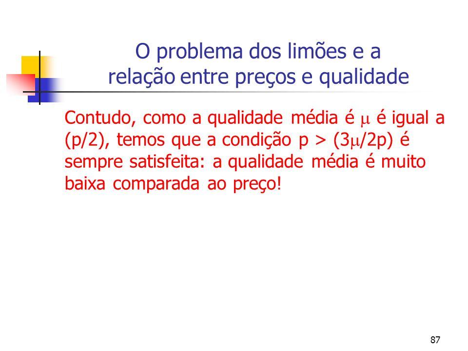 87 O problema dos limões e a relação entre preços e qualidade Contudo, como a qualidade média é é igual a (p/2), temos que a condição p > (3 /2p) é se