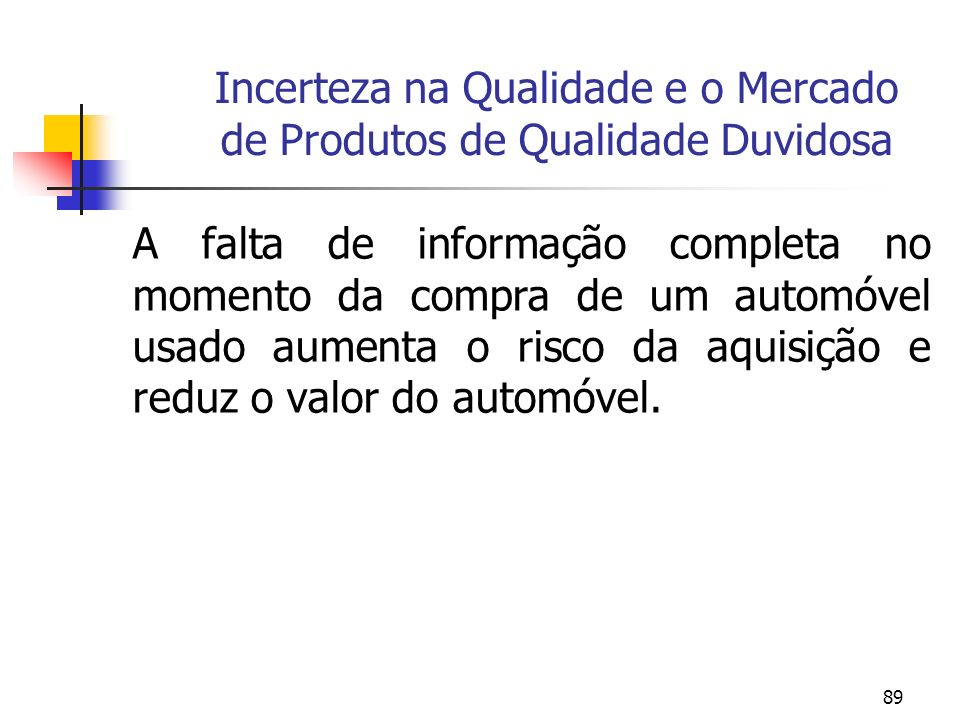 89 Incerteza na Qualidade e o Mercado de Produtos de Qualidade Duvidosa A falta de informação completa no momento da compra de um automóvel usado aume