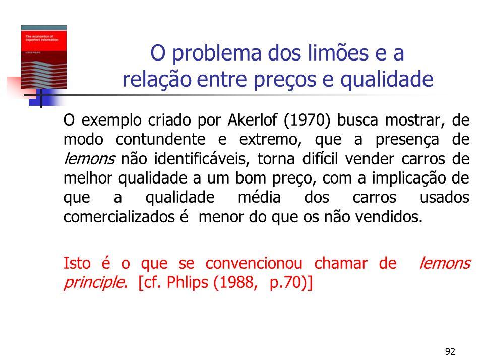 92 O problema dos limões e a relação entre preços e qualidade O exemplo criado por Akerlof (1970) busca mostrar, de modo contundente e extremo, que a