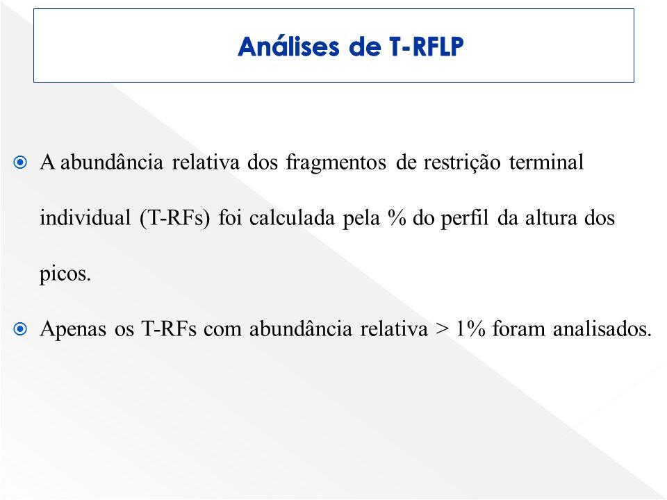 A abundância relativa dos fragmentos de restrição terminal individual (T-RFs) foi calculada pela % do perfil da altura dos picos. Apenas os T-RFs com