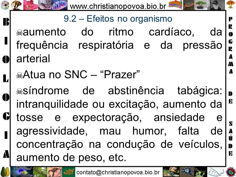 aumento do ritmo cardíaco, da frequência respiratória e da pressão arterial Atua no SNC – Prazer síndrome de abstinência tabágica: intranquilidade ou