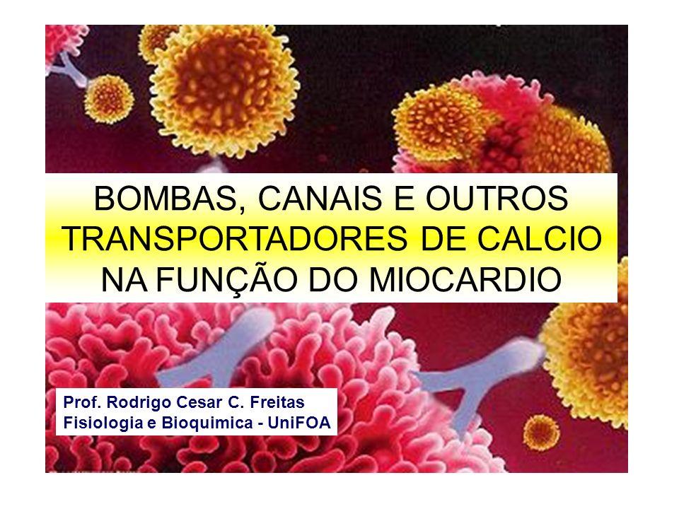 BOMBAS, CANAIS E OUTROS TRANSPORTADORES DE CALCIO NA FUNÇÃO DO MIOCARDIO Prof. Rodrigo Cesar C. Freitas Fisiologia e Bioquimica - UniFOA