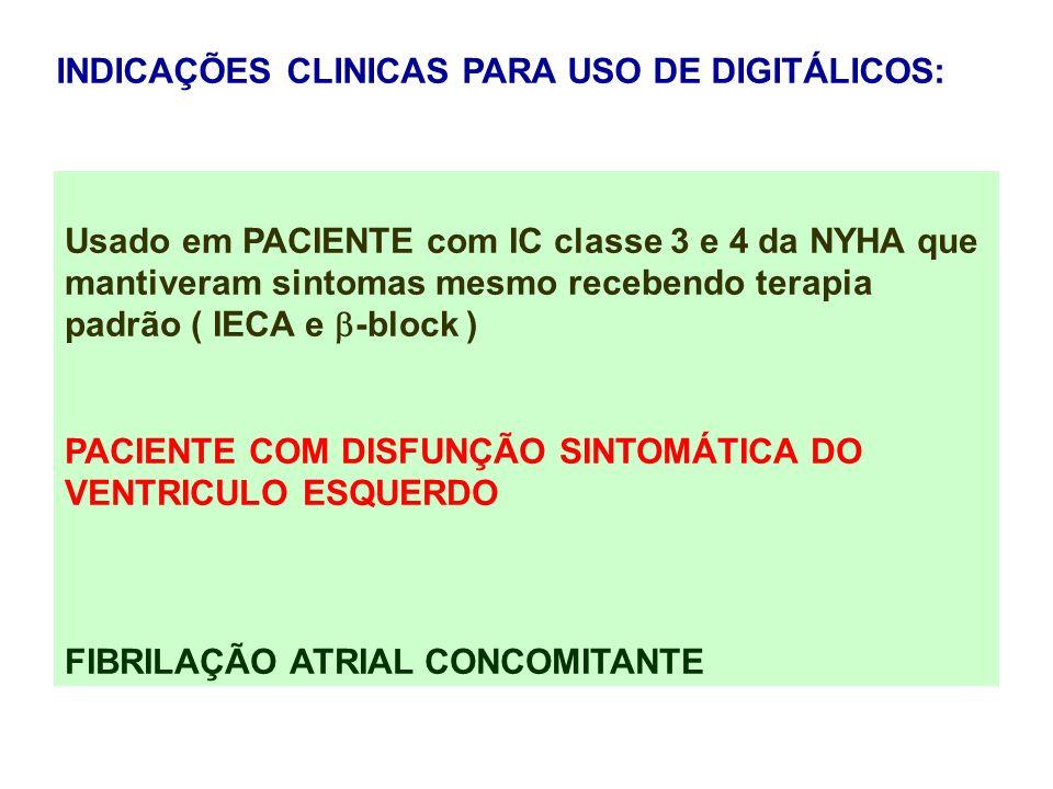Usado em PACIENTE com IC classe 3 e 4 da NYHA que mantiveram sintomas mesmo recebendo terapia padrão ( IECA e -block ) PACIENTE COM DISFUNÇÃO SINTOMÁT