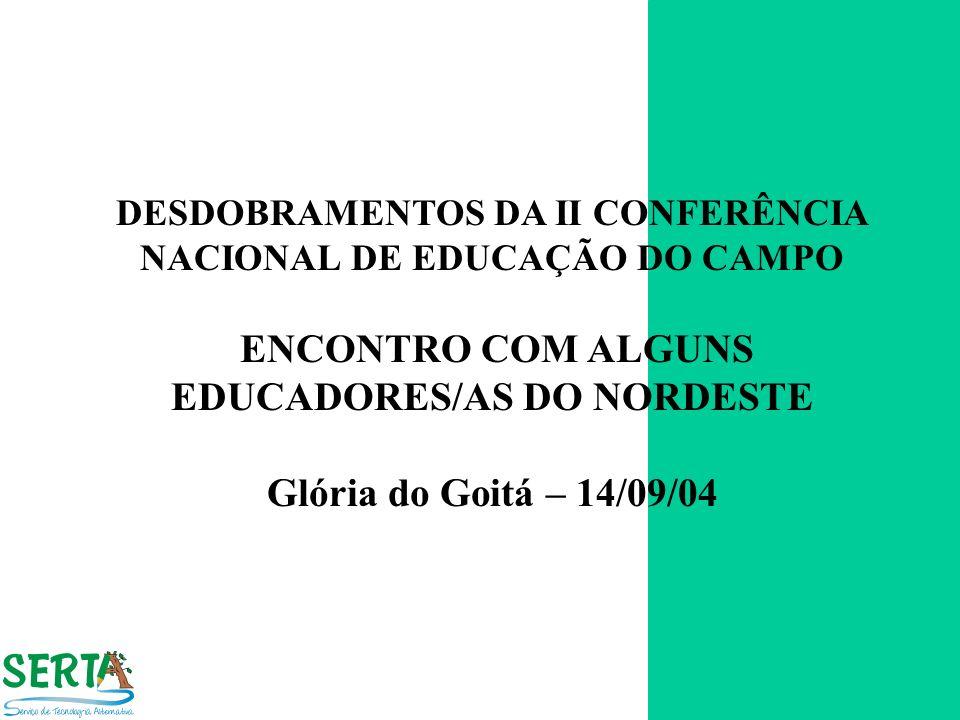 DESDOBRAMENTOS DA II CONFERÊNCIA NACIONAL DE EDUCAÇÃO DO CAMPO ENCONTRO COM ALGUNS EDUCADORES/AS DO NORDESTE Glória do Goitá – 14/09/04