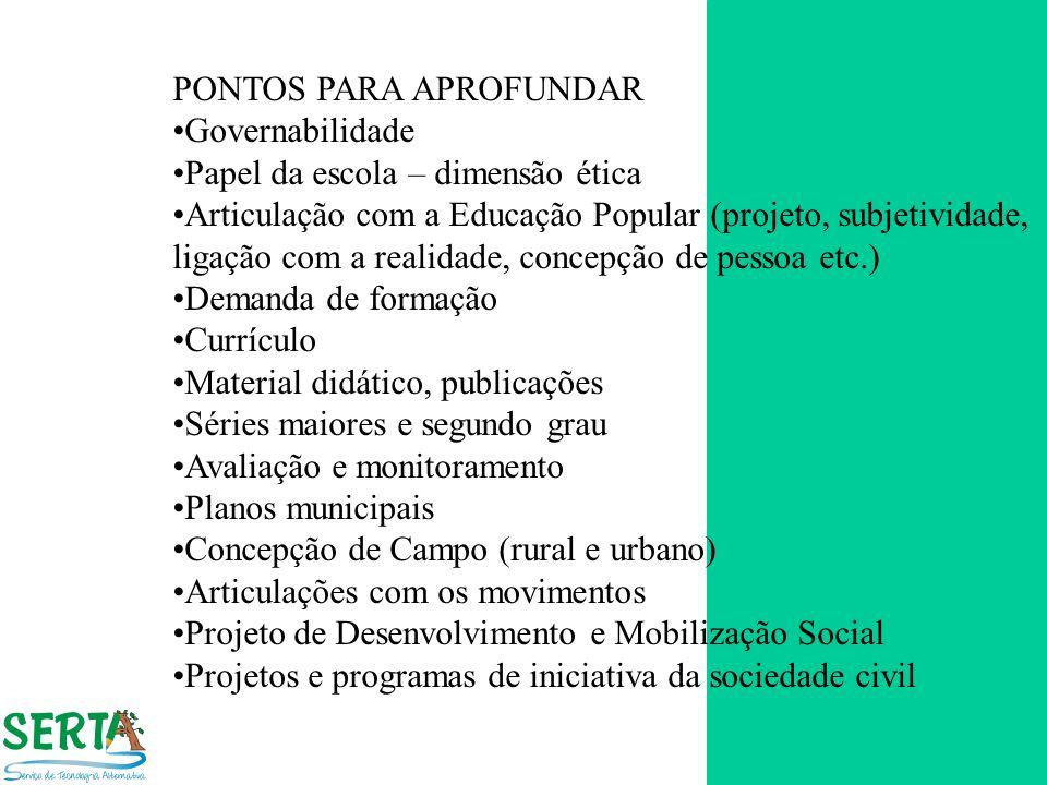 PONTOS PARA APROFUNDAR Governabilidade Papel da escola – dimensão ética Articulação com a Educação Popular (projeto, subjetividade, ligação com a real