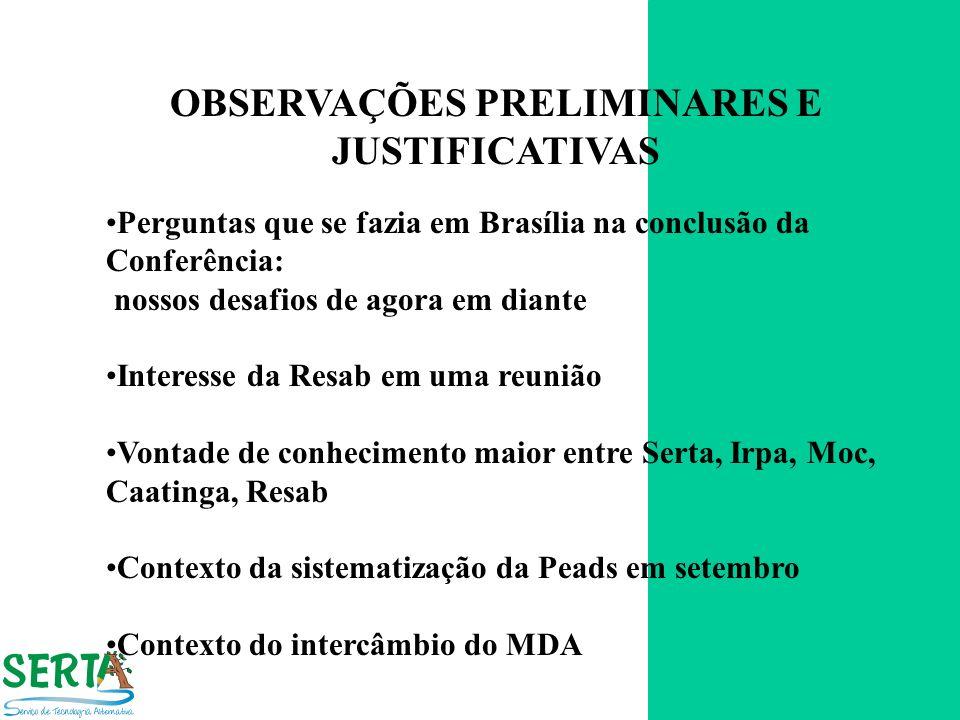 OBSERVAÇÕES PRELIMINARES E JUSTIFICATIVAS Perguntas que se fazia em Brasília na conclusão da Conferência: nossos desafios de agora em diante Interesse