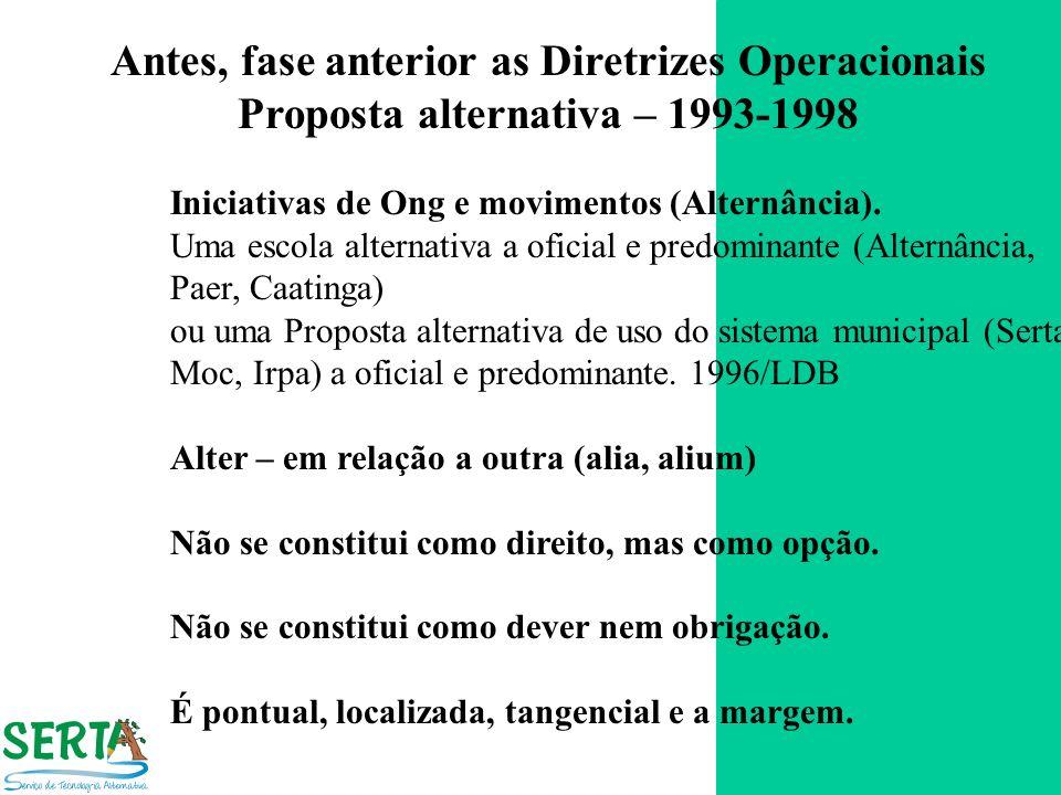 Antes, fase anterior as Diretrizes Operacionais Proposta alternativa – 1993-1998 Iniciativas de Ong e movimentos (Alternância). Uma escola alternativa