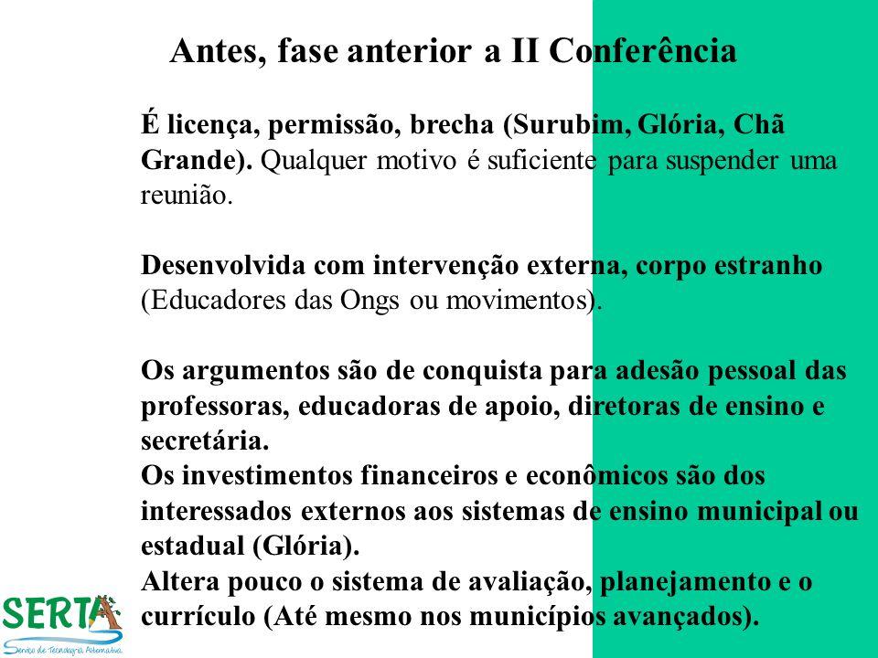 Antes, fase anterior a II Conferência É licença, permissão, brecha (Surubim, Glória, Chã Grande). Qualquer motivo é suficiente para suspender uma reun