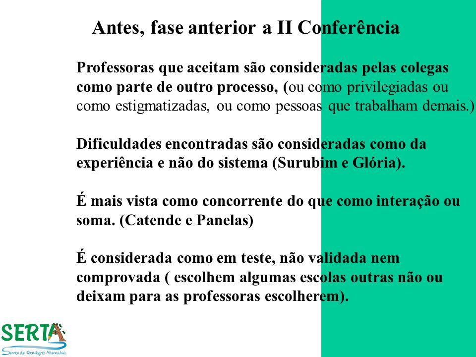 Antes, fase anterior a II Conferência Professoras que aceitam são consideradas pelas colegas como parte de outro processo, (ou como privilegiadas ou c