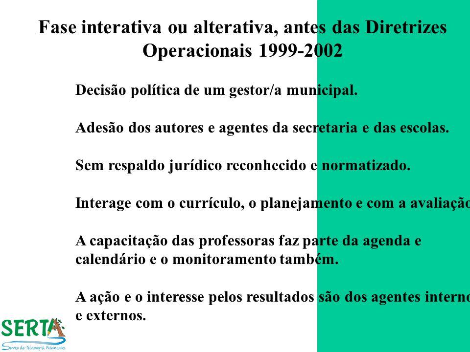 Fase interativa ou alterativa, antes das Diretrizes Operacionais 1999-2002 Decisão política de um gestor/a municipal. Adesão dos autores e agentes da