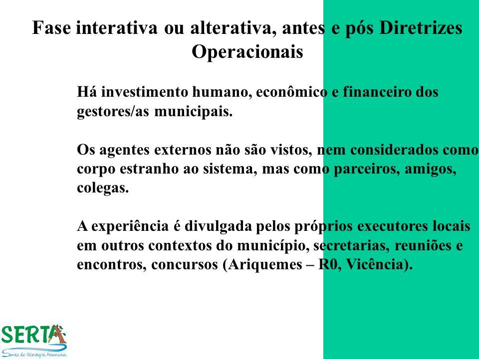 Fase interativa ou alterativa, antes e pós Diretrizes Operacionais Há investimento humano, econômico e financeiro dos gestores/as municipais. Os agent