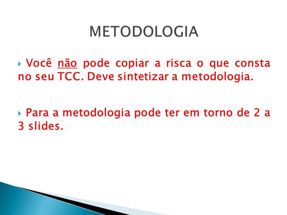 Você não pode copiar a risca o que consta no seu TCC. Deve sintetizar a metodologia. Para a metodologia pode ter em torno de 2 a 3 slides.