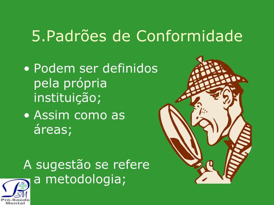 5.Padrões de Conformidade Podem ser definidos pela própria instituição; Assim como as áreas; A sugestão se refere a metodologia;