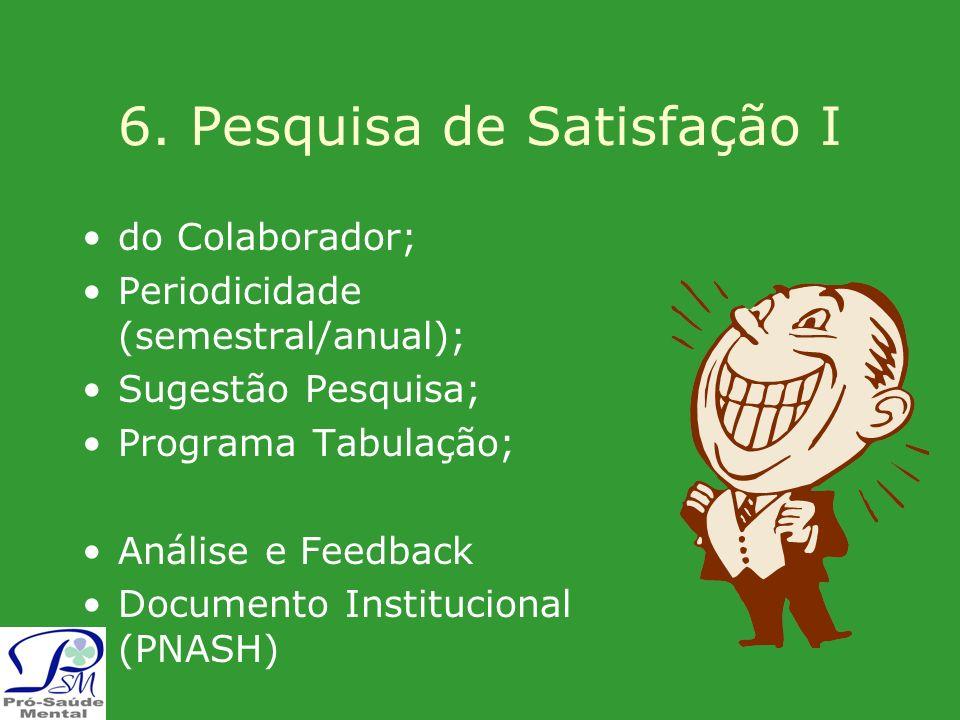 6. Pesquisa de Satisfação I do Colaborador; Periodicidade (semestral/anual); Sugestão Pesquisa; Programa Tabulação; Análise e Feedback Documento Insti