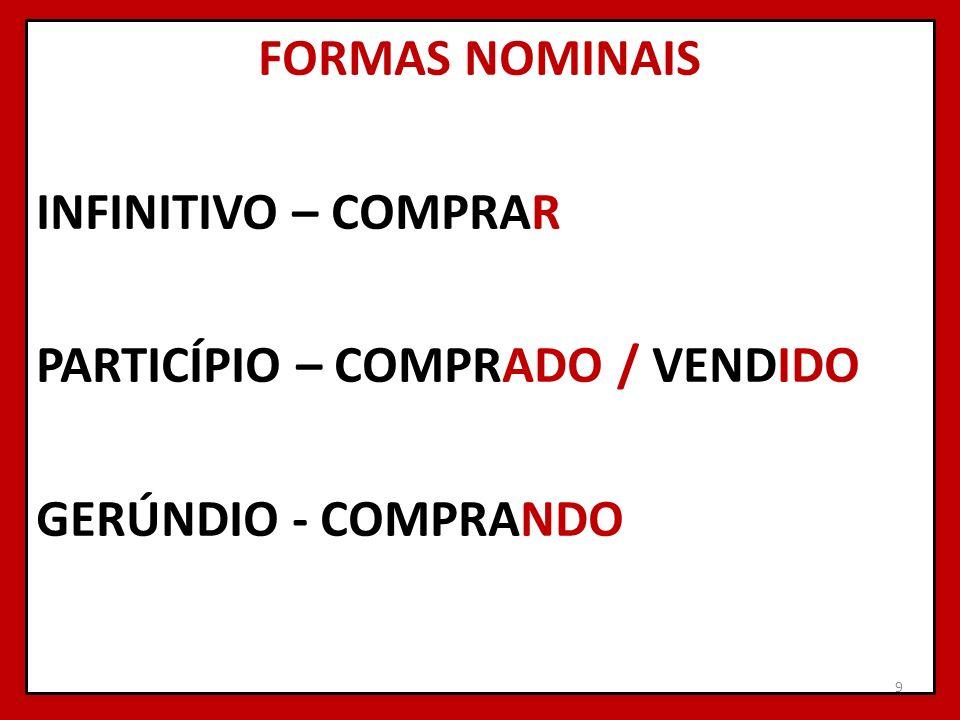 FORMAS NOMINAIS INFINITIVO – COMPRAR PARTICÍPIO – COMPRADO / VENDIDO GERÚNDIO - COMPRANDO 9