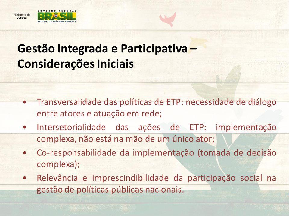 Gestão Integrada e Participativa – Considerações Iniciais Transversalidade das políticas de ETP: necessidade de diálogo entre atores e atuação em rede