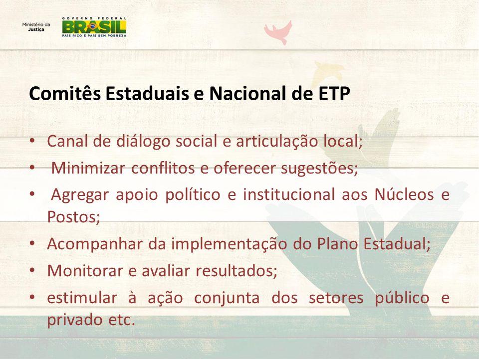 Comitês Estaduais e Nacional de ETP Canal de diálogo social e articulação local; Minimizar conflitos e oferecer sugestões; Agregar apoio político e in