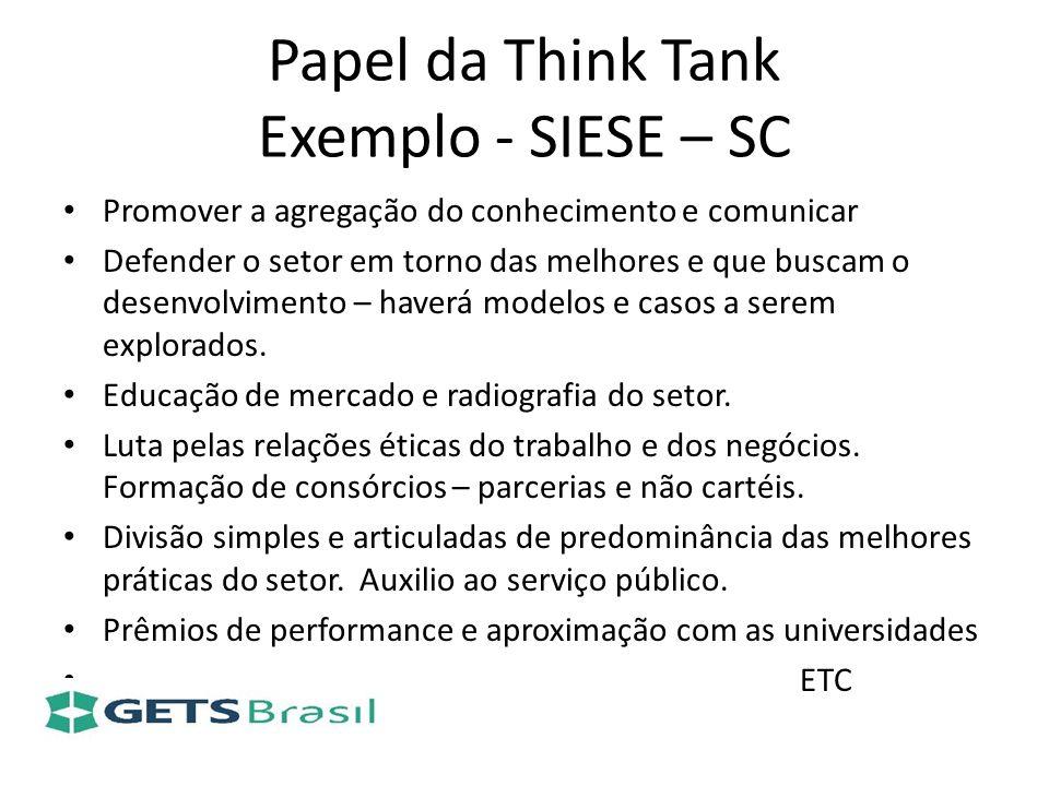 Papel da Think Tank Exemplo - SIESE – SC Promover a agregação do conhecimento e comunicar Defender o setor em torno das melhores e que buscam o desenv