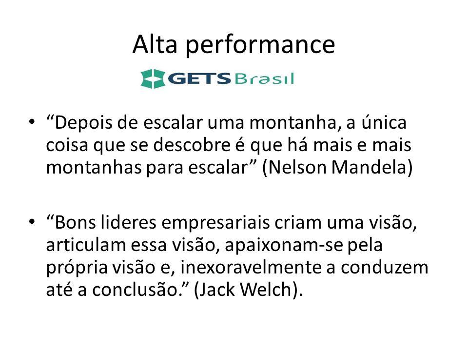 Alta performance Depois de escalar uma montanha, a única coisa que se descobre é que há mais e mais montanhas para escalar (Nelson Mandela) Bons lider
