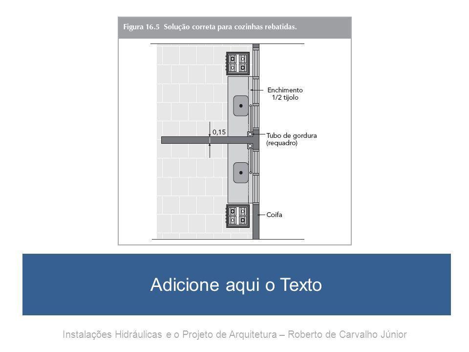Adicione aqui o Texto Instalações Hidráulicas e o Projeto de Arquitetura – Roberto de Carvalho Júnior