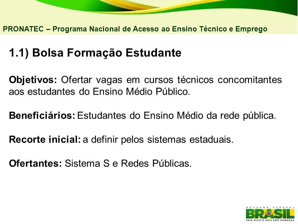 1.1) Bolsa Formação Estudante Objetivos: Ofertar vagas em cursos técnicos concomitantes aos estudantes do Ensino Médio Público. Beneficiários: Estudan