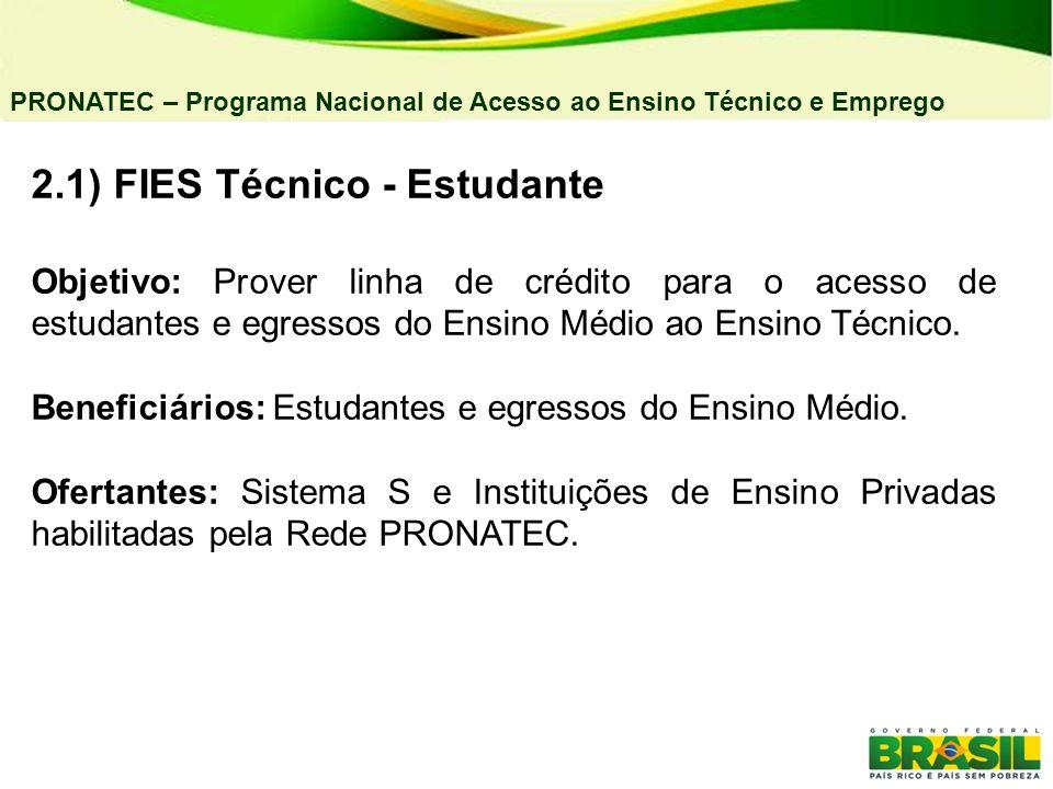 2.1) FIES Técnico - Estudante Objetivo: Prover linha de crédito para o acesso de estudantes e egressos do Ensino Médio ao Ensino Técnico. Beneficiário
