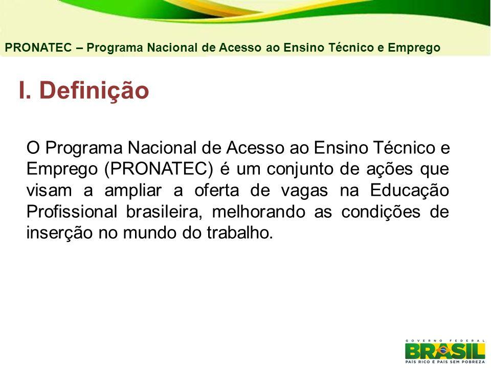 I. Definição PRONATEC – Programa Nacional de Acesso ao Ensino Técnico e Emprego O Programa Nacional de Acesso ao Ensino Técnico e Emprego (PRONATEC) é