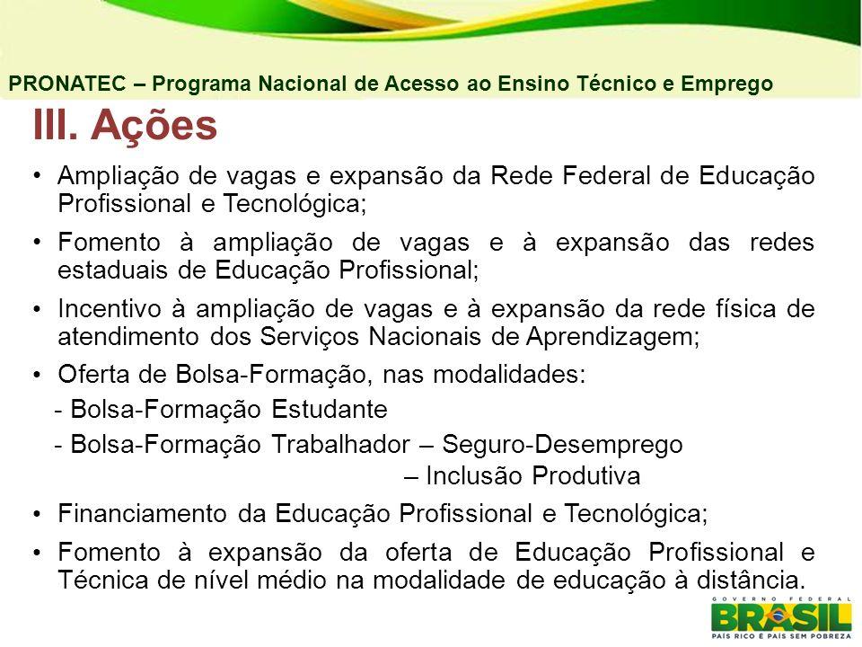 4) E-TEC BRASIL Objetivos: Ofertar vagas em cursos técnicos na modalidade a distância em pólos vinculados às unidades de ensino das redes estaduais e federal de Educação Profissional.