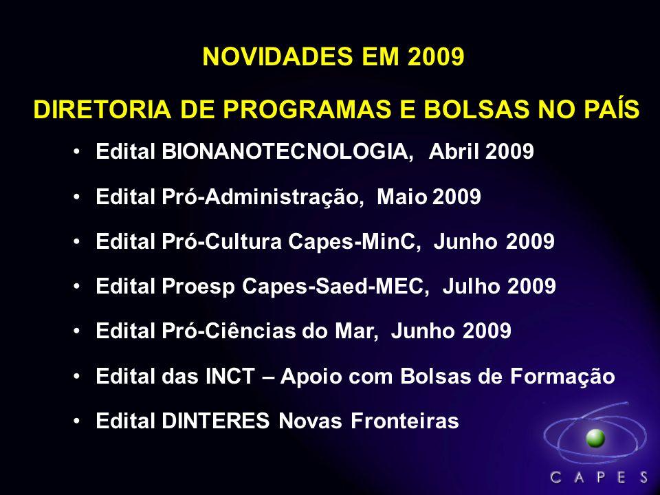 NOVIDADES EM 2009 DIRETORIA DE PROGRAMAS E BOLSAS NO PAÍS Edital BIONANOTECNOLOGIA, Abril 2009 Edital Pró-Administração, Maio 2009 Edital Pró-Cultura