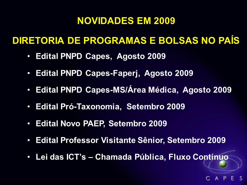 NOVIDADES EM 2009 DIRETORIA DE PROGRAMAS E BOLSAS NO PAÍS Edital PNPD Capes, Agosto 2009 Edital PNPD Capes-Faperj, Agosto 2009 Edital PNPD Capes-MS/Ár