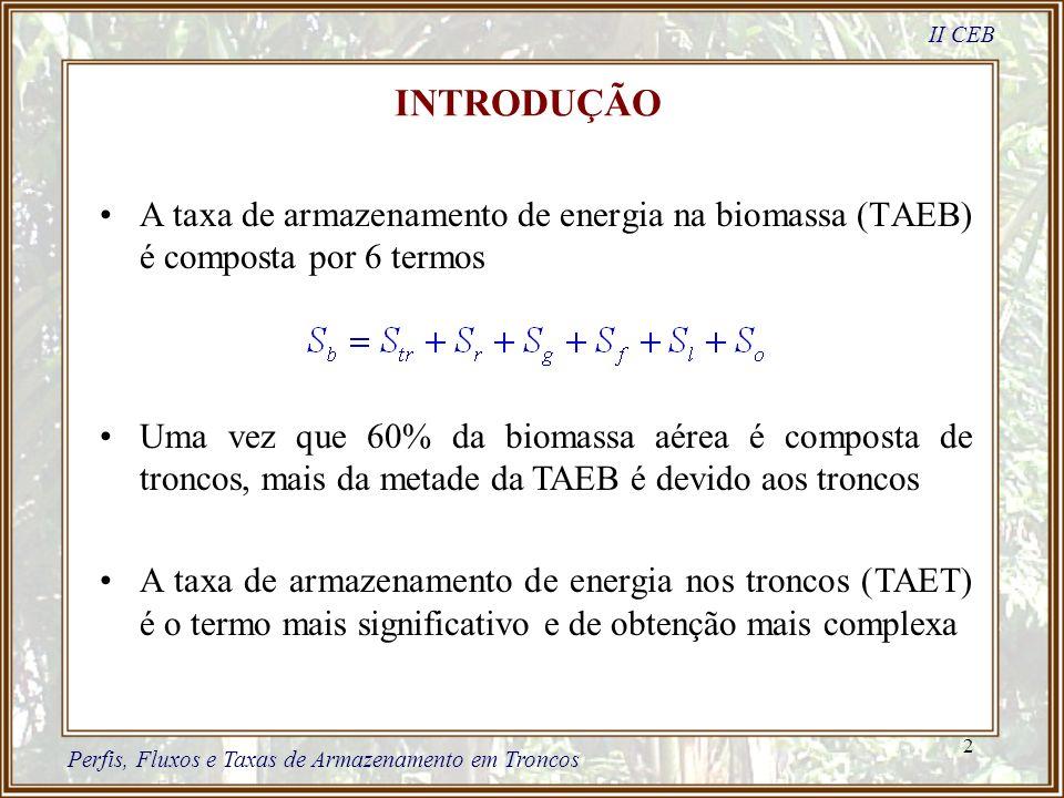 2 A taxa de armazenamento de energia na biomassa (TAEB) é composta por 6 termos II CEB Perfis, Fluxos e Taxas de Armazenamento em Troncos Uma vez que