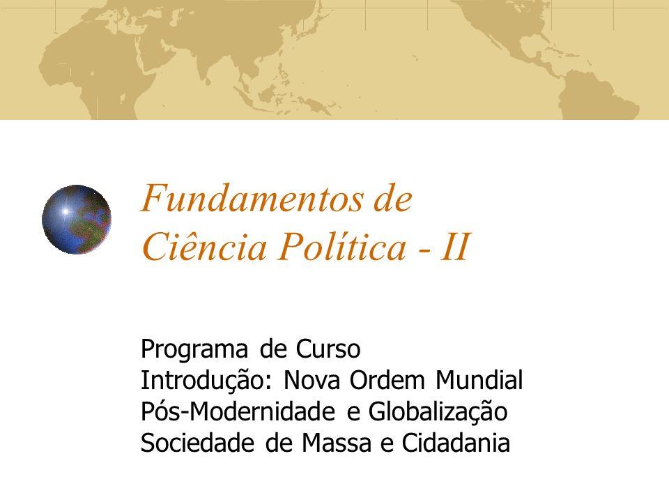 Fundamentos de Ciência Política - II Programa de Curso Introdução: Nova Ordem Mundial Pós-Modernidade e Globalização Sociedade de Massa e Cidadania