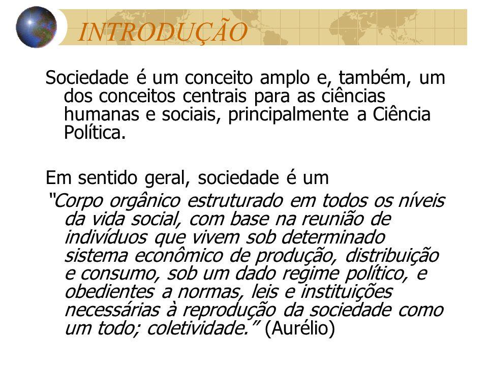 INTRODUÇÃO Sociedade é um conceito amplo e, também, um dos conceitos centrais para as ciências humanas e sociais, principalmente a Ciência Política. E