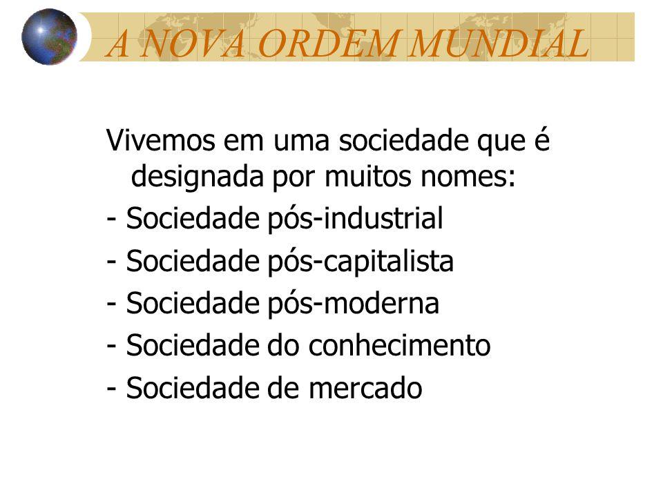 A NOVA ORDEM MUNDIAL Vivemos em uma sociedade que é designada por muitos nomes: - Sociedade pós-industrial - Sociedade pós-capitalista - Sociedade pós