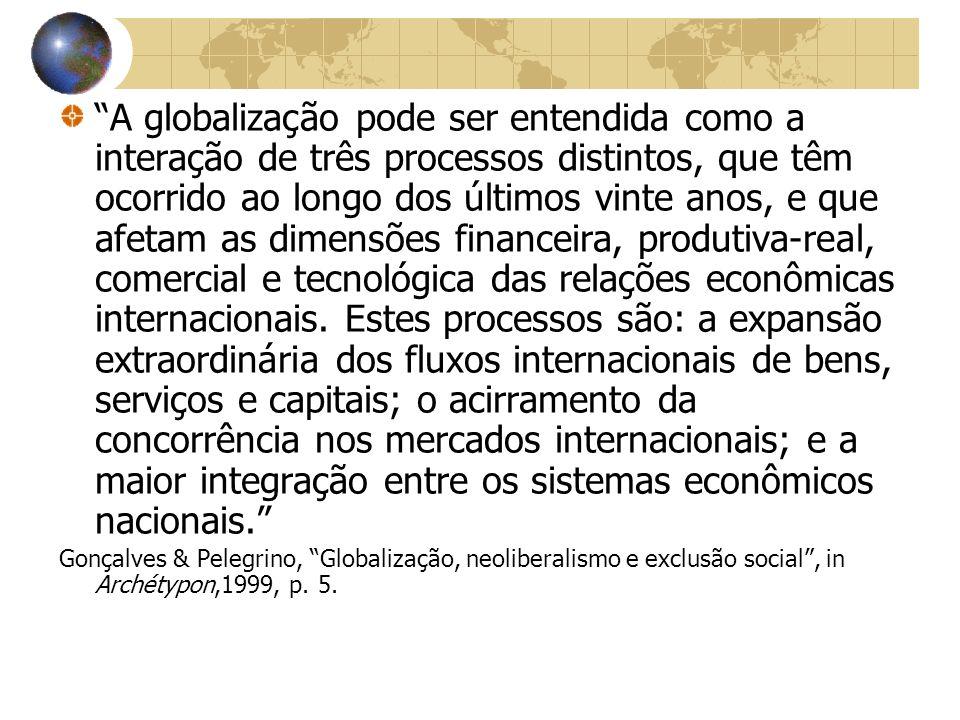 A globalização pode ser entendida como a interação de três processos distintos, que têm ocorrido ao longo dos últimos vinte anos, e que afetam as dime