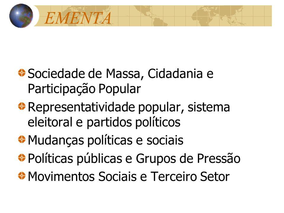 EMENTA Sociedade de Massa, Cidadania e Participação Popular Representatividade popular, sistema eleitoral e partidos políticos Mudanças políticas e so