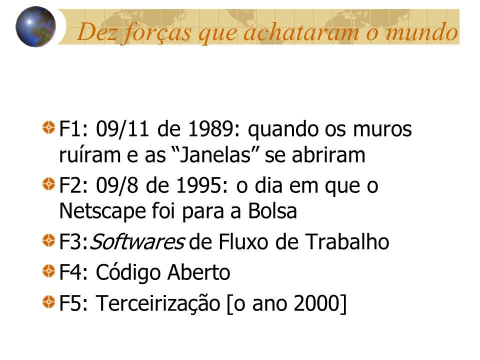 Dez forças que achataram o mundo F1: 09/11 de 1989: quando os muros ruíram e as Janelas se abriram F2: 09/8 de 1995: o dia em que o Netscape foi para