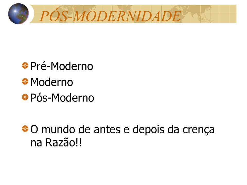 PÓS-MODERNIDADE Pré-Moderno Moderno Pós-Moderno O mundo de antes e depois da crença na Razão!!