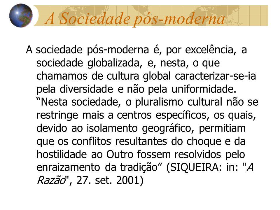 A Sociedade pós-moderna A sociedade pós-moderna é, por excelência, a sociedade globalizada, e, nesta, o que chamamos de cultura global caracterizar-se