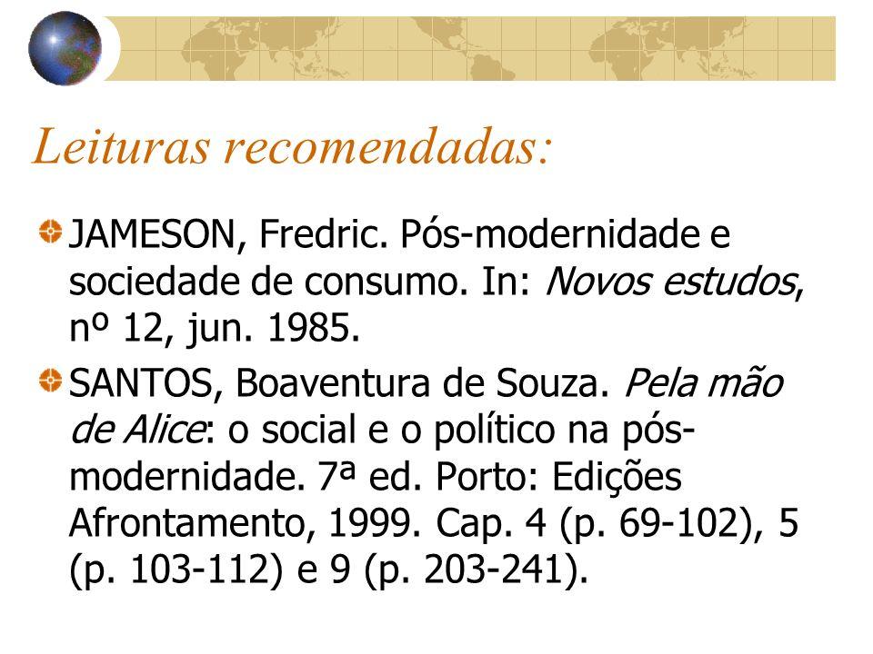 Leituras recomendadas: JAMESON, Fredric. Pós-modernidade e sociedade de consumo. In: Novos estudos, nº 12, jun. 1985. SANTOS, Boaventura de Souza. Pel
