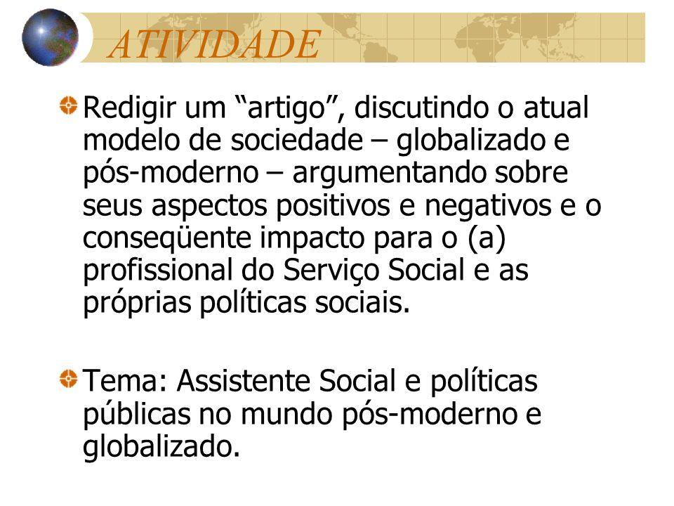 ATIVIDADE Redigir um artigo, discutindo o atual modelo de sociedade – globalizado e pós-moderno – argumentando sobre seus aspectos positivos e negativ